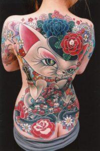 背中全面のタトゥー