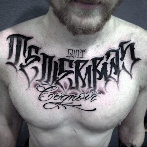 レタリングタトゥー 胸