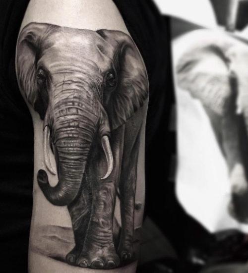ブラックアンドグレイ 像のタトゥー