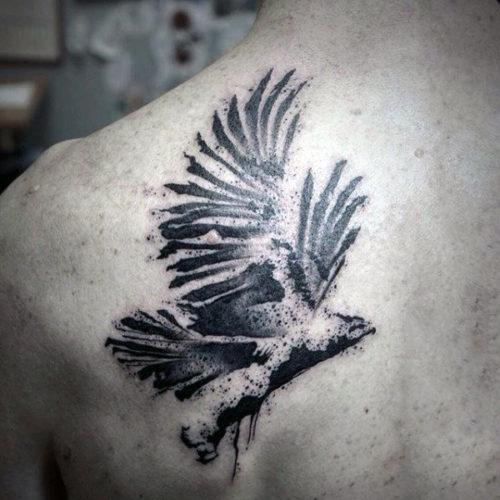 背中の水墨画タトゥー