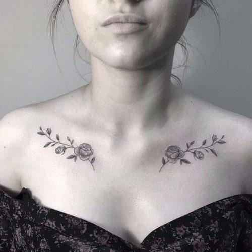 女性|鎖骨の花(フラワー)タトゥー