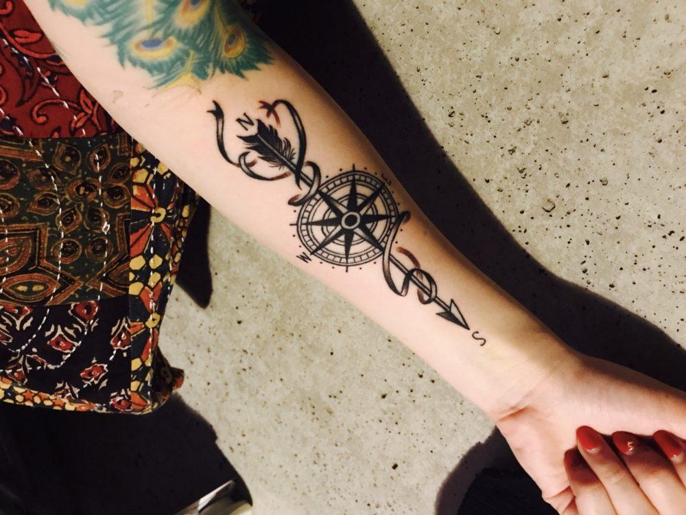 手首のコンパスのタトゥー