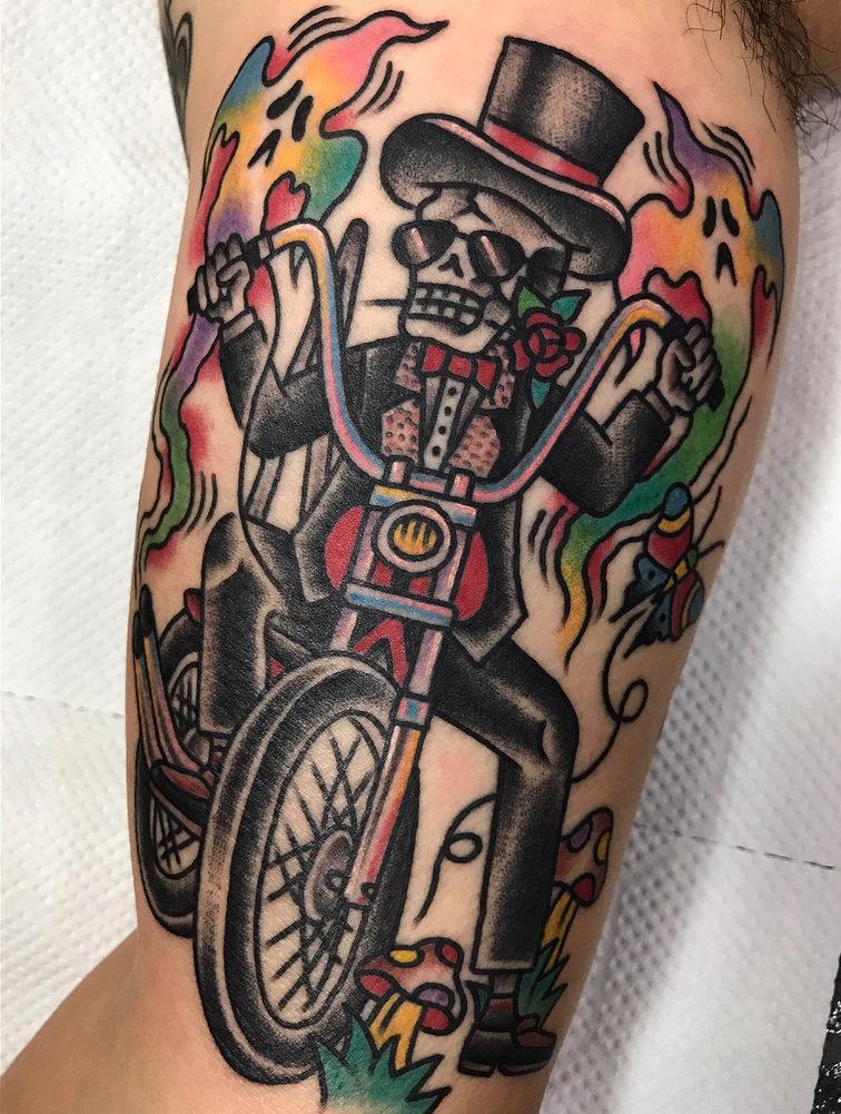 Kowhey|スカル(骸骨)とバイクのタトゥー