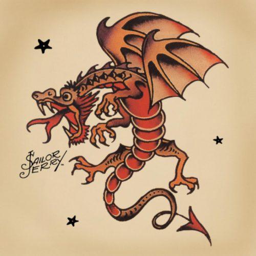 セーラー・ジェリーによるドラゴンのタトゥーフラッシュ