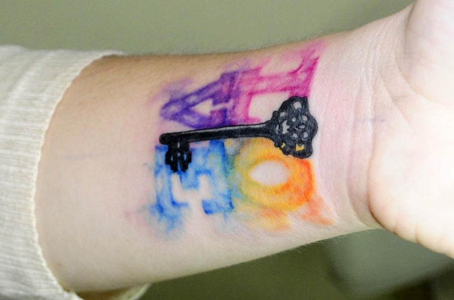 水彩タトゥーとレタリング|カラーワーク